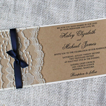 SALE 10% Rustic Wedding Invitation. Lace Wedding Invitation. Suite. Navy. Wedding Invitation. Wedding Stationary. Custom Stationary