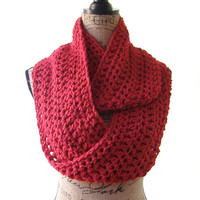 Red Cowl Scarf Fall Winter Women's Accessory Infinity