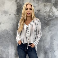 Happens Like Stripes Hi Low Blouse
