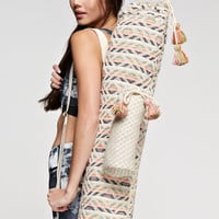 Pom Pom Tapestry Print Boho Yoga Mat Tote Bag with Water Pouch