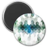 Funky Blue Cube Graphic Design Magnet