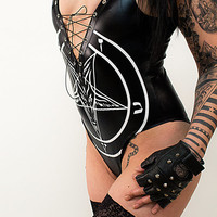 Studded Pentagram Bodysuit - Body Top Shirt Metal Metalclothings Gothic Gothicclothing Gothicshirt Okkult Alchemy Rocker Deathrock sexy hot