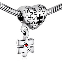 European beads Authentic Pugster Puzzle Heart and Autism Awareness Bead