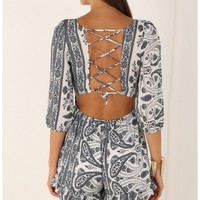Playsuits/Jumpsuits > 3/4 Sleeve Laced Paisley Playsuit in Monochrome