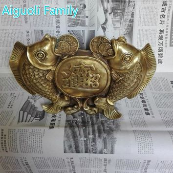 Wedding decoration Art Chinese Brass Carved Big 2 Fish Statue/Lucky Fish Sculpture For Home Fengshui
