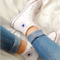 Converse Fashion Reflective Sneakers Hight top Sport Shoes White