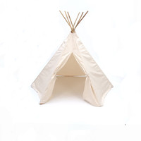 Teepee Play Tent round wood poles included natural canvas  - 6 panel