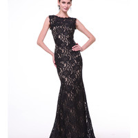 Preorder -  Black & Nude Lace Fitted Sleeveless Gown 2015 Prom Dresses