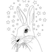 Hare Print, Printable Black and White Nursery Art, Instant Download,  Hare Sketch, Star Print, Animal Art, Mystical Hare, Childrens Wall Art