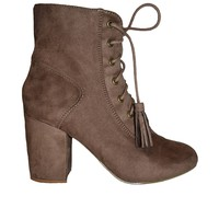 Taupe Suede Lace-Up Booties