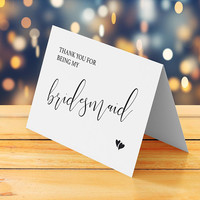 Thank you for being my bridesmaid card printable, Bridesmaid thank you card printable, Wedding thank you card, Instant download digital pdf