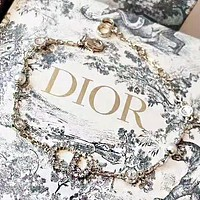 DIOR Fashion New Diamond Letter Pearl Bracelet Women