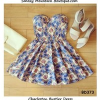 Charleston Floral Bustier Dress with Adjustable Straps - Size XS/S/M BD 373 - Smoky Mountain Boutique