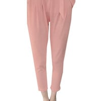 Pink Pleated Drawstring High Waist Cropped Pants