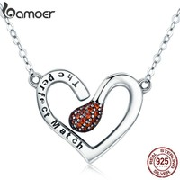 BAMOER 100% 925 Sterling Silver Sparks of Love Perfect Match Pendant Necklaces for Women Silver Jewelry Girlfriend Gift SCN267