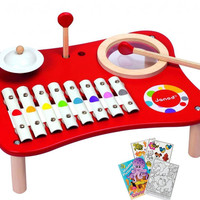 Janod 07624 Confetti Mix Music Multiple Instrument Table with Coloring Book