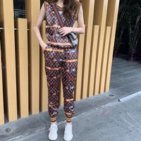 """""""LOUIS VUITTON"""" Woman's Leisure  Fashion Letter Personality Printing Short Sleeve Vest Trousers Two-Piece Set Casual Wear"""