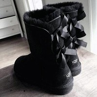 UGG Fashion Mid-tube Snow Boots Double Bow Velvet UGG Casual Ladies Wool Boots Hot Products