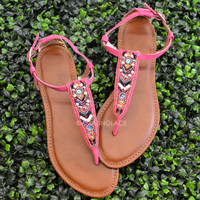Indian Hills Coral Beaded Sandals