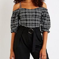 Windowpane Cold Shoulder Crop Top | Charlotte Russe