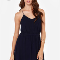 LULUS Exclusive Knot For Love Navy Blue Dress