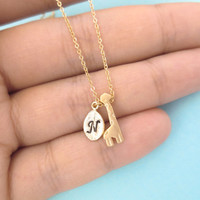 Giraffe, Necklace, Gold/ Silver, Giraffe, Necklace, Initial, Giraffe, Necklace, Personalized, Animal, Necklace, Dainty, Cute, Gift