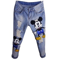 Cartoon Fashion Sexy Slim Women Prints Patchwork Supper Jeans Casual Denim Pants Trousers Hole Vintage Girls Ripped Jeans 345