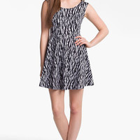Fire Stud Shoulder Print Skater Dress (Juniors) | Nordstrom