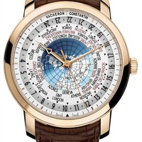 Vacherone Traditionnelle World Time Men's Brown Leather Strap Rose Gold Automatic Swiss Watch 86060/000R-9640