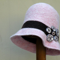 Dust Pink Crochet Cloche Hat with Brown Stripes, Decorated with Handmade Buttons, Flapper Hat for Women and Teens, Winter Fashion