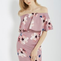 Floral Off the Shoulder Bodycon Dress