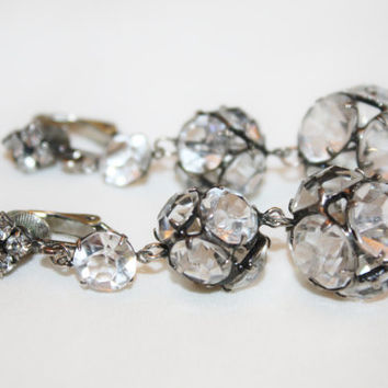 Art Deco Crystal Earrings, Drop Dangle Bridal Wedding Earrings, Vintage Rhinestone 1930s Jewelry