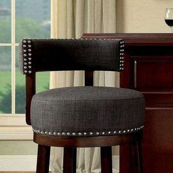 """Lynsey Contemporary 29""""Barstool With linen Cushion, Gray Finish, Set of 2 By Casagear Home"""