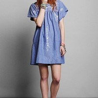 Vintage 80s Embroidered Chambray Dress