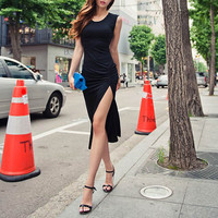 Black Ruched Dress with Slit