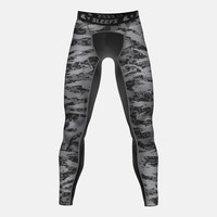 Digital Ripped camo charcoal compression tights / leggings