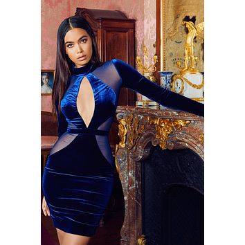 Davinia Midnight Blue Velvet cut Mesh dress