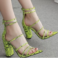 Hot style toe zipper matching color thick heel high heel sandals shoes