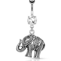 Elephant Dangle 316L Surgical Steel Belly Button Navel Rings 14ga