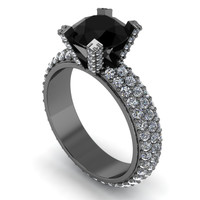 Black Gold and Diamond Engagement Ring 14 k