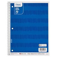"Mead ® Spiral Notebook, Wide Ruled, 70pgs, 10.5"" x 8"" - Blue Stripes : Target"