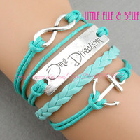 To Infinity and Beyond, Infinity charm Bracelet, Anchor, One Direction, One Directioner, Turquoise, Christmas Gift, Friendship, Sisters Gift