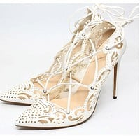 Openwork pattern pointed shallow mouth strap 12cm thin high heel wild sexy ladies single shoes