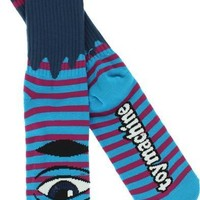Toy Machine Sect Eye Stripe Crew Socks aqua Navy/purple