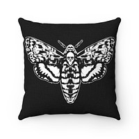Death Head Moth Spun Polyester Square Pillow