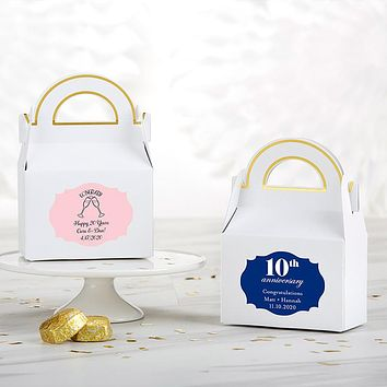 Personalized Gable Favor Box - Anniversary (Set of 12)