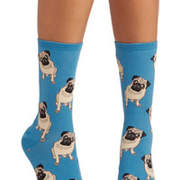 Critters Pug Life Socks in Blue by ModCloth