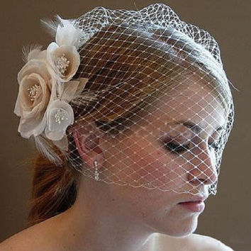Light Champagne Face Veil Layers Simple Ivory Tulle Wedding Veils Bird Cage Wedding Accessories Bridal Veils For Wedding Dress