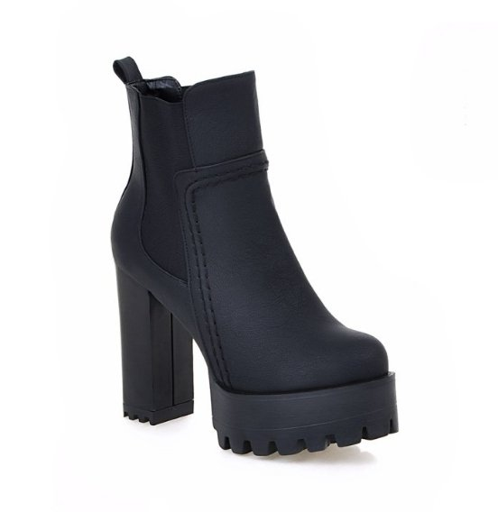 Image of Faux Leather High Heels Women Short Boots Chunky Heel