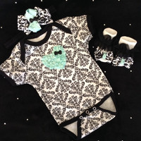 NEWBORN baby girl take home outfit complete with mint damask heart Onesuit, matching mint socks hair bow